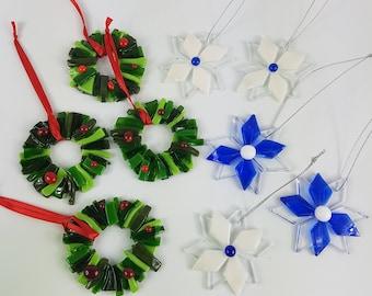 fused glass christmas ornaments christmas decorations christmas wreath christmas snowflake glass ornaments christmas gift