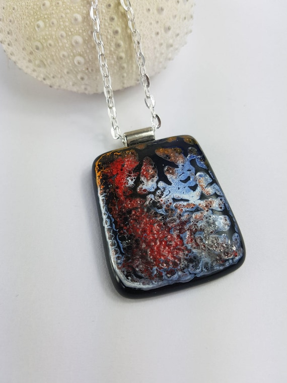 Black and White glass pendant pendant with chain nwglassart kilnformed glass art fused glass art fused glass pendant glass pendant
