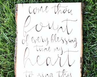 Scripture Wall Art | Inspirational Wood Sign | Come Thou Fount Hymn