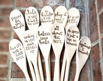 Personalized and Custom Gifts | Wooden Serving Spoons | Wood Burned Spoons