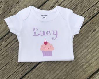 Personalized baby girl birthday bodysuit, Baby girl clothing, Baby girl Personalized, Personalized Bodysuit, Cupcake Bodysuit, Baby Girl