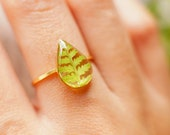 Pressed fern ring Resin ring Terrarium ring Christmas gift Forest ring Botanical ring Real flower jewelry engagement ring