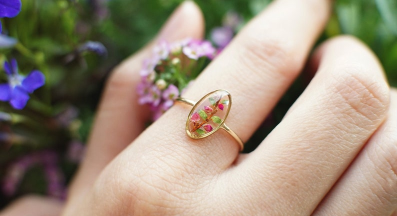 Pressed flower ring  flower confetti terrarium ring  pressed flower jewelry  resin jewelry  engagement ring
