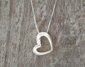 Sterling Heart Pendant CZ with 925 Chain Necklace Stamped