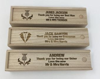 Thank you Best Man/Usher gift box. Thank you gift. Wooden Laser cut. Groomsman gift. Personalised Wedding cigar box.