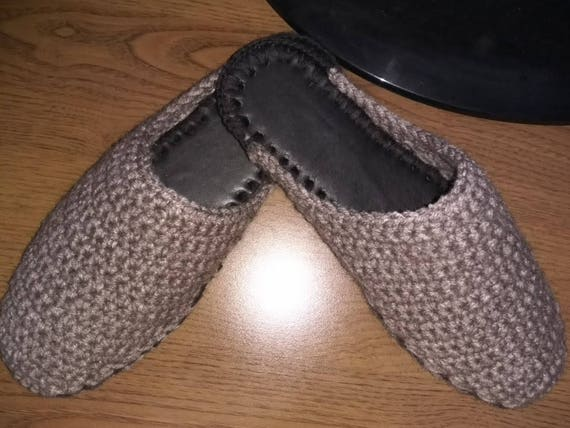 Wolle Hausschuhe Häkeln Pantoffeln Leder Sohle Personalisierte Etsy