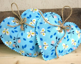5 X Organic Fabric Hanging Hearts. Ideal For Wedding, Girlu0027s Birthday  Decoration. Pretty Girlu0027s Bedroom Decor. Pretty Butterfly Decoration.