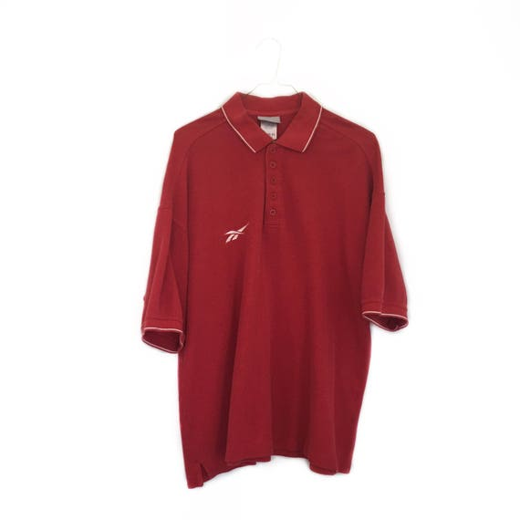 Reebok Vintage Shirt, Polo Style - Solid Red - Ath
