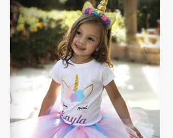 Unicorn birthday tutu outfit 3 piece set, 2nd, 3rd, 4th, 5th birthday unicorn outfit, personalized, unicorn birthday outfit, pink