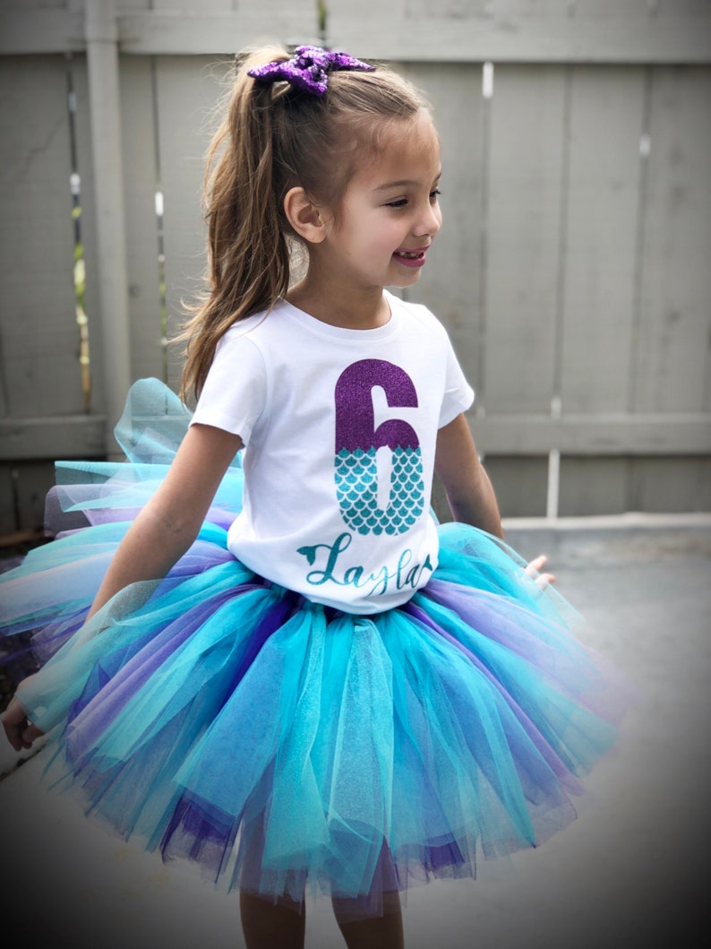 3rd personalized 5th 4th Mermaid birthday tutu outfit set 2nd 6th birthday