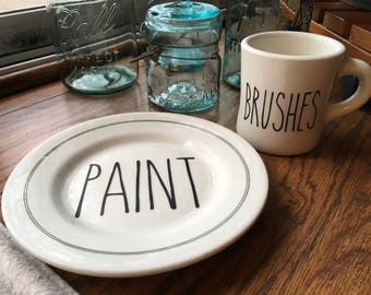 Vintage Rae Dunn Inspired Paint Brushes Mug and Plate - Painters Palette - Crafts Crafting - Repurposed Restaurant Dishes - Farmhouse Decor