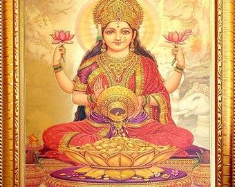 Lord Goddess Laxmi Hindu God Photo Frames For Wall And Pooja (23 X 32)Cm