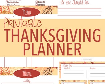 Printable Thanksgiving Planner - Thanksgiving Dinner - Thanksgiving Organizer - Thanksgiving Placecards - Thanksgiving Leftover Labels