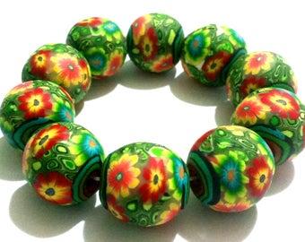 10 Polymer Clay beads,, Summerflowers,, yellow, green, violet, Fimoperlen, Floret, Summerbead, flower beads