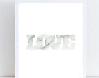 Love Print, Marble Print, Instant Download, Printable Art, Marble Art, Wall Art, Unique Art, Wall Decor, Customized Print, Modern Wall Print