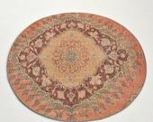 3.5 x 3.6 Vintage Turkish Round Oval Cutie rug Arie