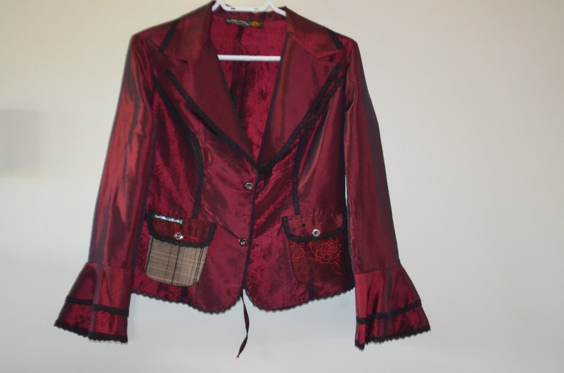 36 ensmall Made in Paris cords on backbottom of flinted sleeves A rarity Medieval blouse medievalGoth style