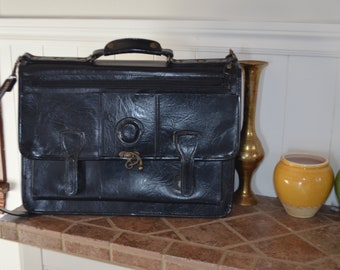 20% OFF!  Sale!  Bag Messenger/Labtop 90' stiff leather Briefcase made in Italy