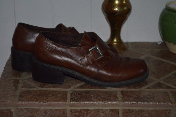 7.5 US Leather!   Chunky brown leather shoes 90' 7