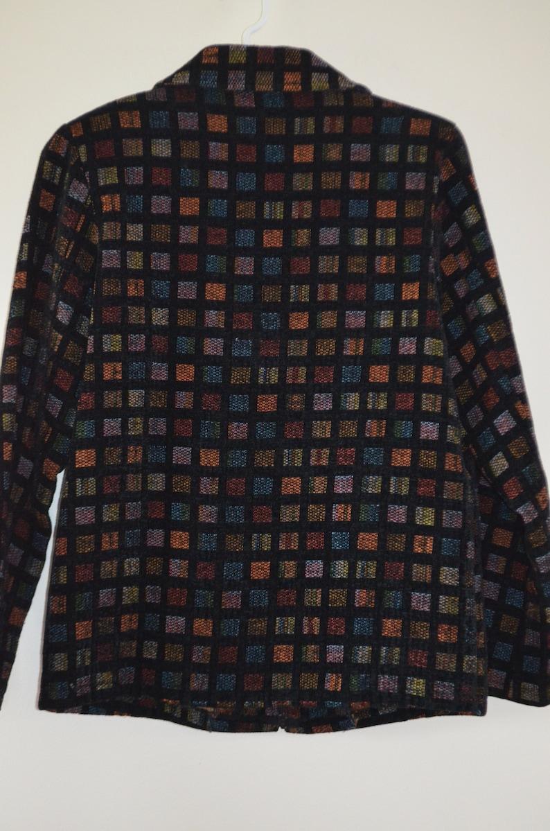 Free shipping Coatboho jacket 3 seasons 90/' Multicolored on black background Zipper 10 US