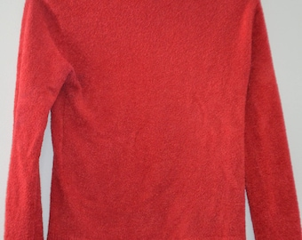 Free shipping! Turtleneck Sweater fitted red/orange 90's / M