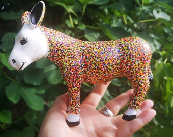 Donkey figure hand dotted harlequin confetti sculpture colorful