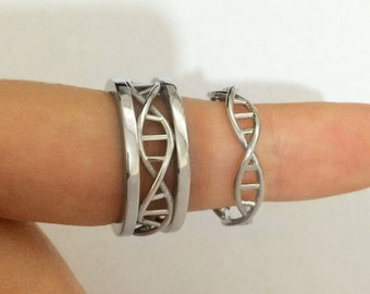 Polished couple dna rings, DNA wedding bands, DNA wedding rings, love bird rings, wedding rings, custom wedding bands, unique wedding bands