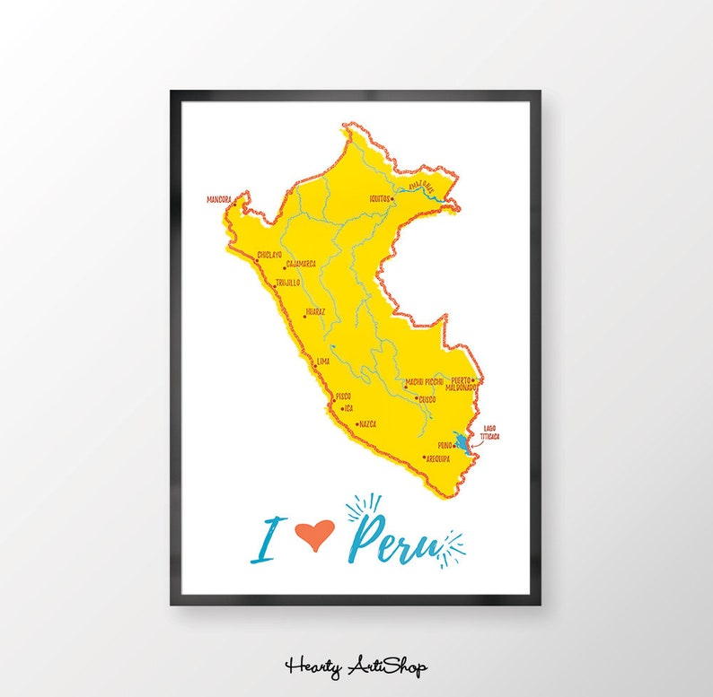 picture about Printable Map of Peru called Printable Peru Map instance poster, Map of Peru print, I Take pleasure in Peru, Illustrated map, Peruvian Wall Artwork, Drive Presents, Basic map poster