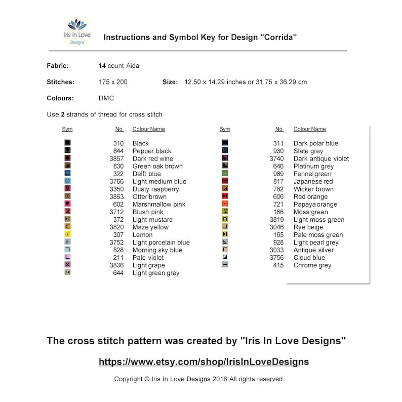 CORRIDA Cross Stitch Pattern PDF Instant Download Modern Embroidery Wall Decor Bull Matador Spain Torero Fight Counted Cross Stitch Chart