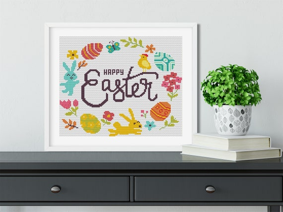 HAPPY EASTER Cross Stitch Pattern PDF Cute Nursery Embroidery Easter Rabbit Egg Flower Butterfly Counted Cross Stitch Chart Instant Download