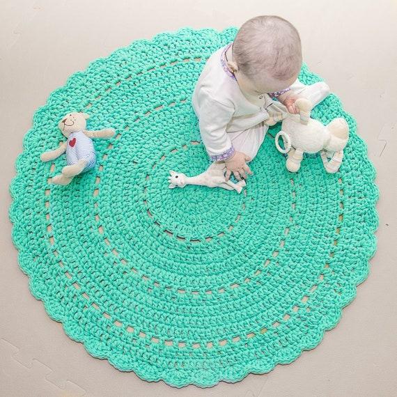 Modern Nursery Rug: Nursery Rug Mint Round Rug Modern Large Crochet Rug Round