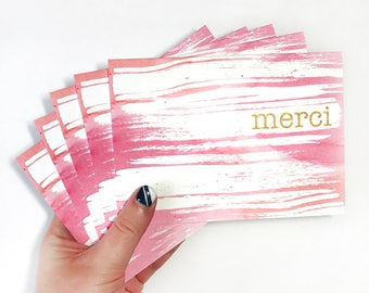 Thank You Cards, French Gift for Her, Hostess Gift Pink Stationery Set of 5, Merci, Watercolor Cards, Pink Stocking Stuffer, Cute Note Cards