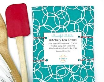Kitchen Tea Towel, Cute Kitchen Decor Turquoise Towel, Turquoise Kitchen Towel Hostess Gift For Her Cute Tea Towel Linen Cotton Dish Towel