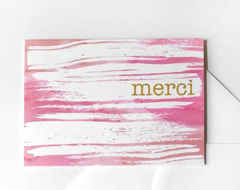 Pink Thank You Card For Her, Pink Stationery, French Thank You Card, Merci Card, Watercolor Card, Blank Card for Teacher Appreciation, Gold