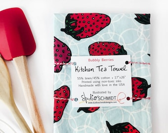 Strawberry Tea Towel, Kitchen Towel Strawberry Decor, Valentine's Day Gift for Her, Foodie Gift, Hostess Gift for Baker, Red White Blue Gift