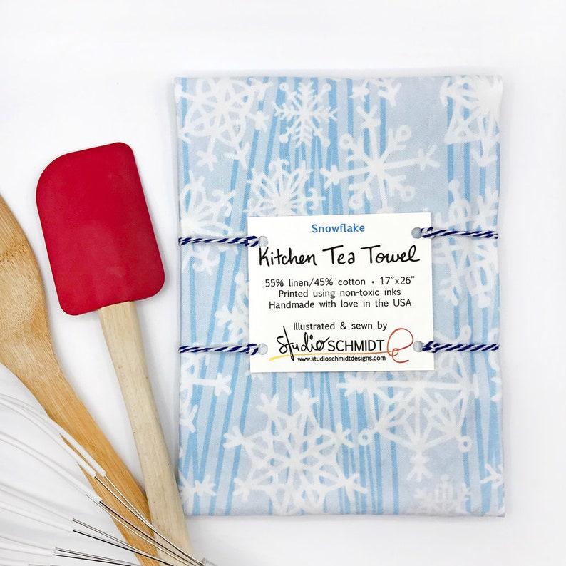 snowflake tea towel christmas gift for her holiday kitchen etsy rh etsy com