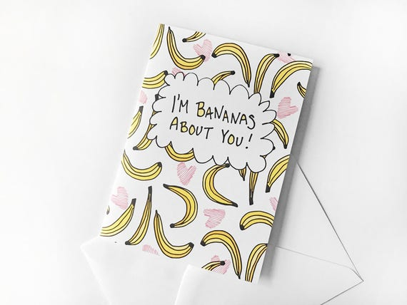 Witty Valentine Galentines Day Card Banana Card Funny Etsy