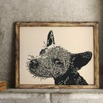 Original Dog Linocut Art Print