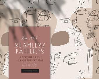 8 Line art seamless patterns eps