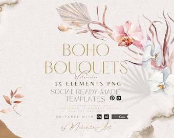 Boho styledtemplates editable in canva