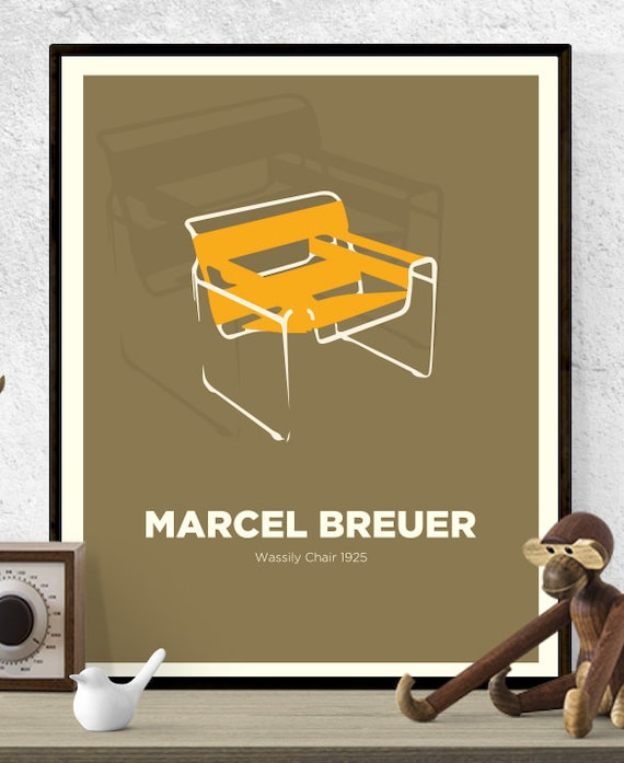 Marcel Breuer Chaise Wassily Chaise Print Mid Century Etsy