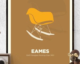 Eames, RAR Chair Print, Rocking Chair, Mid Century Modern, Poster, Wall Art, American Design, America,Retro,Art Print,Icon,Design, Designer,