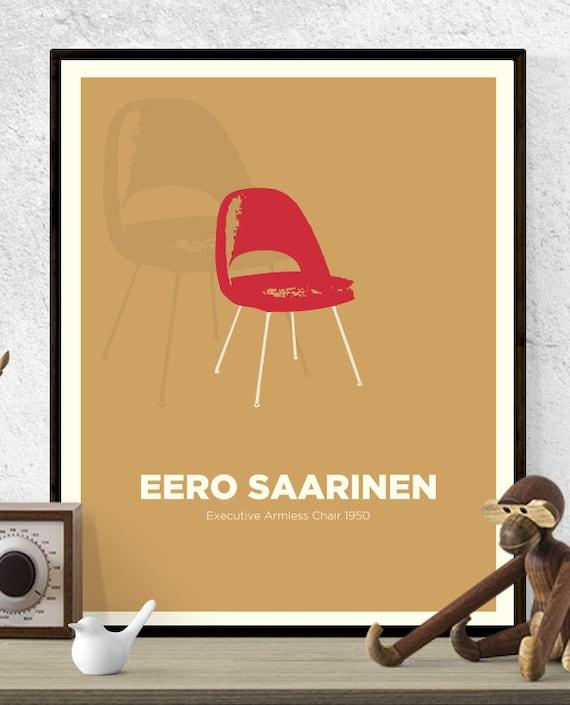 Fabulous Eero Saarinen Executive Chair Chair Print Mid Century Modern Poster Wall Art Hungarian Design Retro Art Print Icon Design Designer Frankydiablos Diy Chair Ideas Frankydiabloscom