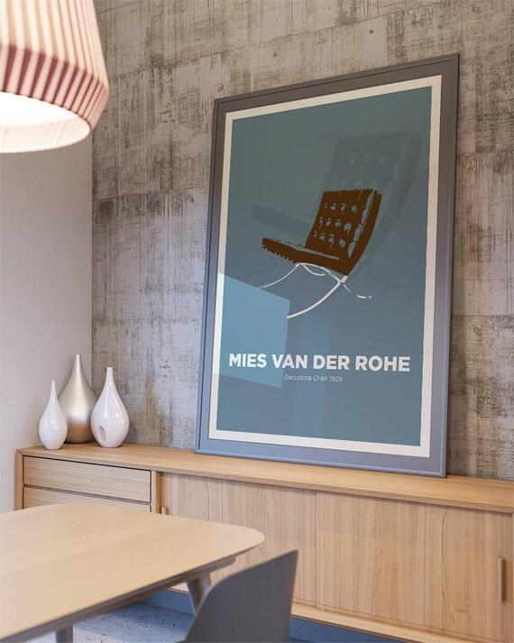 Brilliant Mies Van Der Rohe Barcelona Chair Chair Print Mid Century Modern Poster Wall Art German Design Retro Art Print Icon Design Designer Frankydiablos Diy Chair Ideas Frankydiabloscom