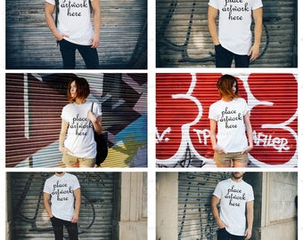 Download Free T-Shirt Mock-up | 6 Jpeg Hires Images | Styled Photography | White T-Shirt Set | High Resolution 300 DPI | INSTANT DOWNLOAD PSD Template