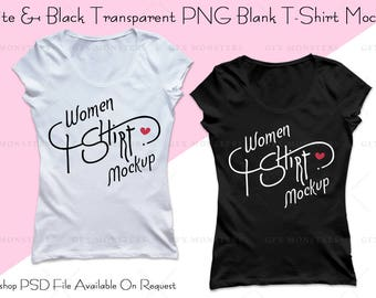 Download Free Tshirt Mockup PNG Transparent | 2 Black & White Tshirts | Styled Photography | 1500X1500 Pixels ~ High Resolution Images | INSTANT DOWNLOAD PSD Template