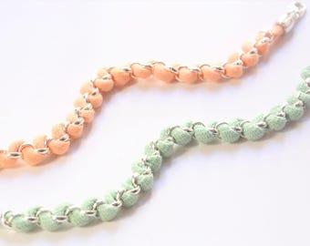 Beach Fabric Bracelets, Orange Green Playful Bracelets, Woven Bracelets, Summer Bracelet, Friendship Bracelets, Stacking Bracelet Set
