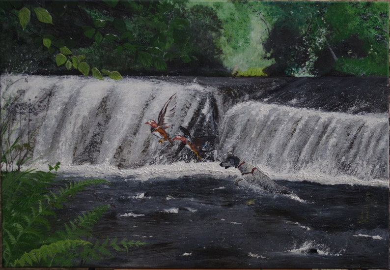 Large Acrylic Painting 'Hunt of a Mandarin Ducks' image 0