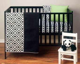 Aztec Tribal Crib Bedding - Baby Blanket - Tribal Crib Bedding - Black and White Crib Bedding - Monochrome Baby Bedding - Gender Neutral
