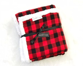 Red Plaid Check Baby Blanket - Red and Black Flannel Sherpa Blanket - Woodland Lumberjack Swaddle - Red and Black Buffalo Plaid - Toddler